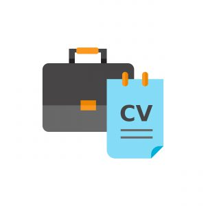 Briefcase and CV. Interview, career, Recruiting concept. Can be used for topics like business, management, recruitment.